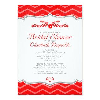 Red Zigzag Bridal Shower Invitations