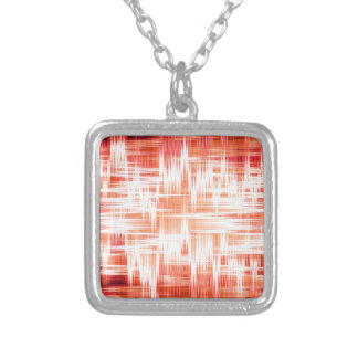 Red zigzag pattern square pendant necklace