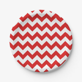 Red Zigzag Stripes Chevron Pattern 7 Inch Paper Plate