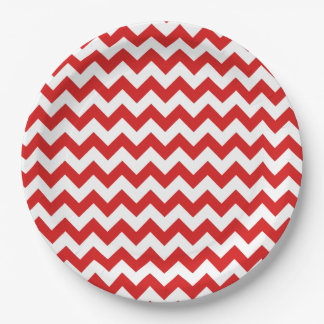 Red Zigzag Stripes Chevron Pattern 9 Inch Paper Plate