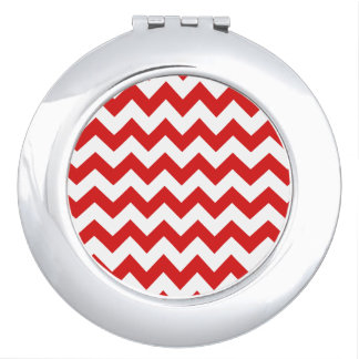 Red Zigzag Stripes Chevron Pattern Compact Mirror