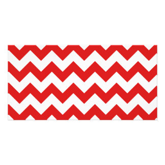 Red Zigzag Stripes Chevron Pattern Photo Card