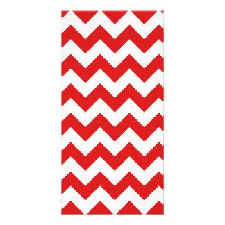 Red Zigzag Stripes Chevron Pattern Photo Card Template