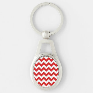 Red Zigzag Stripes Chevron Pattern Silver-Colored Oval Key Ring
