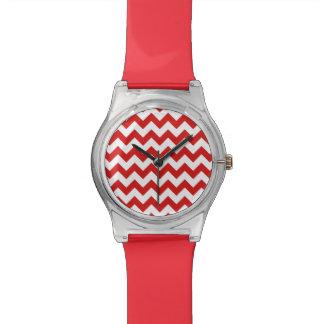 Red Zigzag Stripes Chevron Pattern Watches