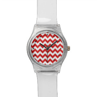 Red Zigzag Stripes Chevron Pattern Wristwatch