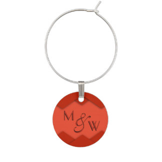 Red Zigzag Wine Charms