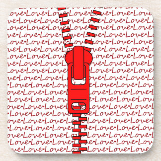 Red Zipper with Love Drink Coaster