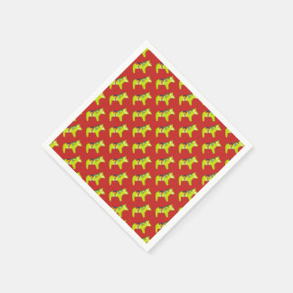 Redand Green Holiday Horses Disposable Napkins