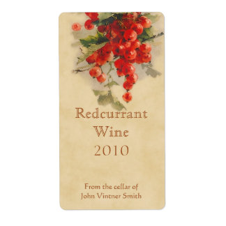 Redcurrant wine bottle label shipping label
