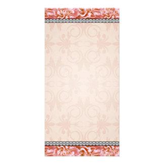Reddish blossom and swirls pattern customized photo card
