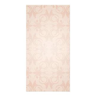 Reddish blossom and swirls pattern photo card