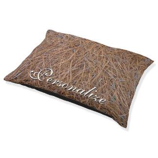 Reddish brown pine straw needles photo pet bed
