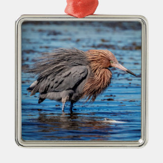 Reddish Egret on North Beach Metal Ornament