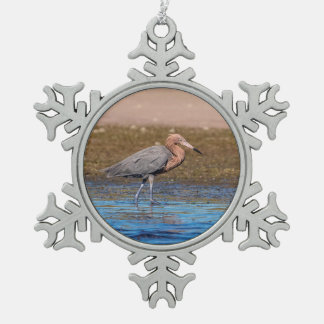 Reddish Egret on North Beach Snowflake Pewter Christmas Ornament