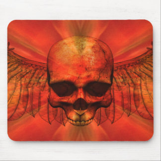 Reddish Orange Burst Winged Skull Mouse Pad