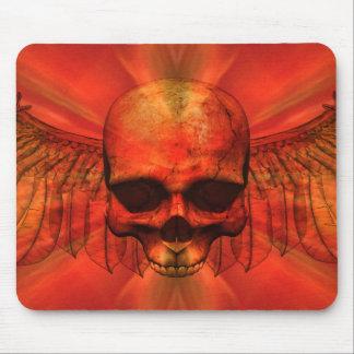 Reddish Orange Burst Winged Skull Mousepad