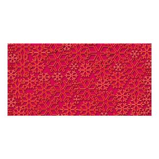 Reddish snowflakes texture personalised photo card