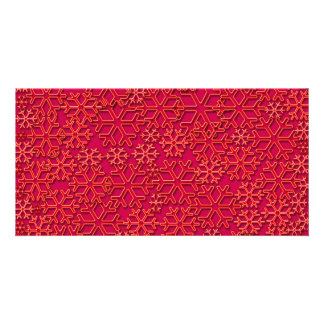 Reddish snowflakes texture personalized photo card