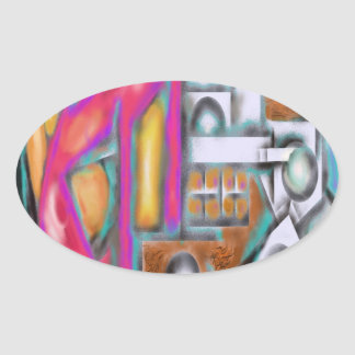 Reddog Abstract Design Oval Sticker