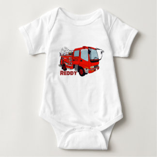 Reddy construction vehicle fire truck engine fire baby bodysuit