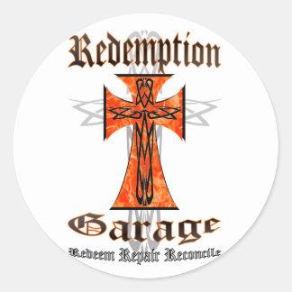 Redemption Garage Tribal Cross Round Sticker