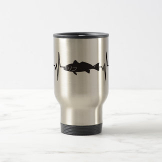 Redfish Fisherman - Heartbeat Pulse Graphic Travel Mug