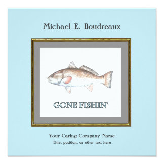 Redfish Gone Fishin' Retirement Party Invitation