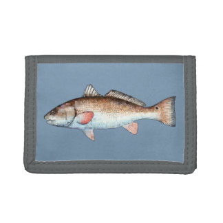 Redfish on Blue Tri-fold Wallet