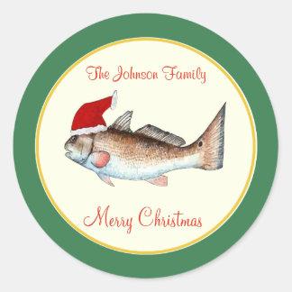Redfish Santa Hat Christmas Green Classic Round Sticker