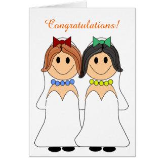 Redhead and Brunette Lesbian Wedding Card