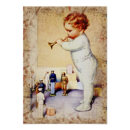 Redhead Baby Boy Blowing Horn to Soldiers Poster