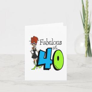 Redhead Fabulous At 40 Birthday Card