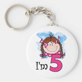 Redhead Girl I'm Five Basic Round Button Key Ring