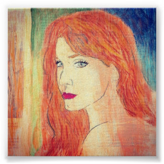 redhead in chalk pastels poster