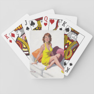 Redhead in Yellow Dress, Feet on Couch Pin Up Art Poker Deck
