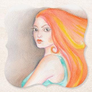 Redhead Lady Paper Coaster