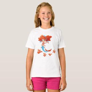 Redhead Little Girl Mermaid T-Shirt