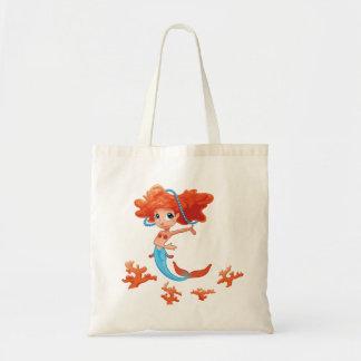 Redhead Little Girl Mermaid Tote Bag