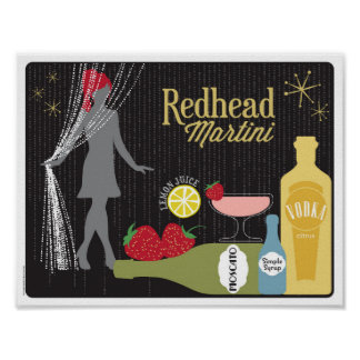 Redhead Martini Strawberry Cocktail Poster