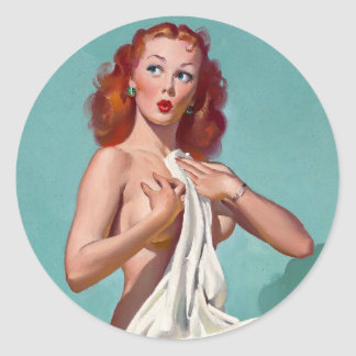 Redhead Patient Pin Up Classic Round Sticker
