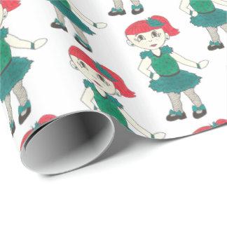Redhead Tap Dancing Girl Dance Tapdance Studio Wrapping Paper