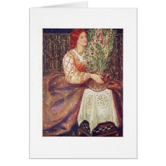 Redhead with Flowers Card