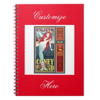 redheaded coney island mermaid notebook