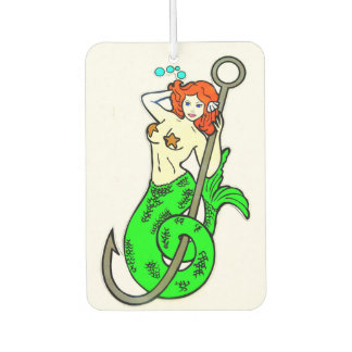 redheaded green-tailed mermaid car air freshener