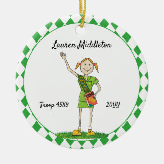 Redheaded Junior Girl Scouting Green Diamond Shape Ceramic Ornament