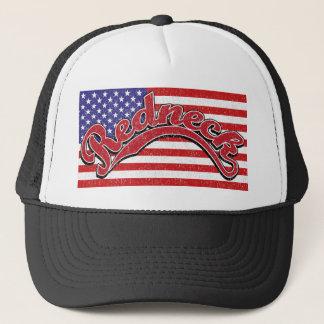 redneck flag red white blue black trucker hat