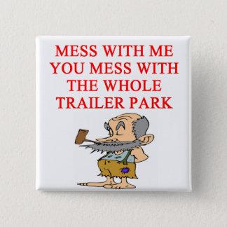 redneck hillbilly joke 15 cm square badge