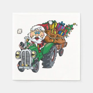 Redneck santa is coming to town on his tractor disposable serviettes