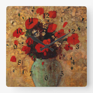 Redon - Vase of Poppies Square Wall Clock